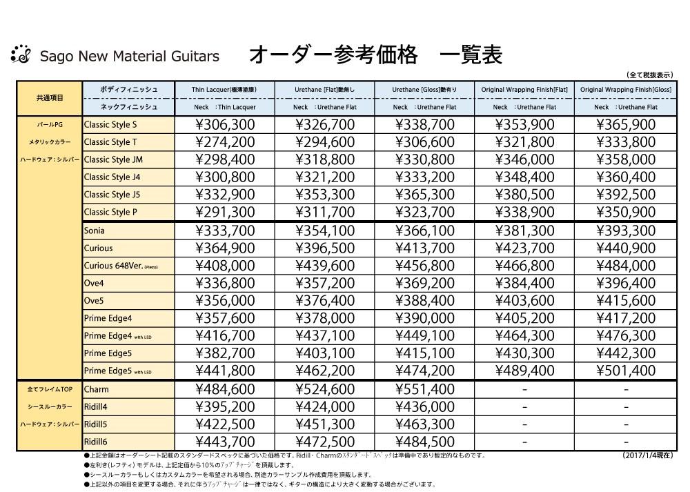 いくらからオーダーできるのですか?という問いに答えるべく、スタンダードスペックのギター・ベースの価格帯が一覧で確認できるプライステーブルである。カスタムオーダーの場合、こちらが見積もりの基準となり、カラーやパーツの変更により大きく金額が変動することを表している。